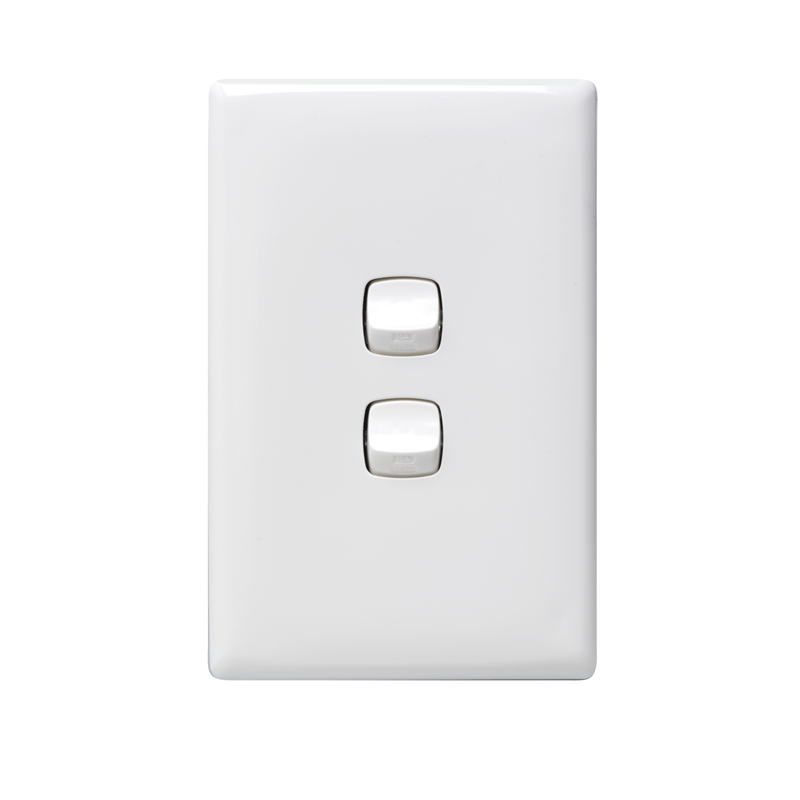 hpm white linea 2 gang light switch i n 4330579 bunnings warehouse. Black Bedroom Furniture Sets. Home Design Ideas